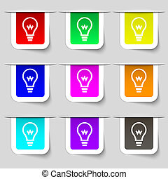 Light bulb icon sign Set of multicolored modern labels for...