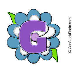 Alphabet Flower Pin Blue G - The letter G, in the alphabet...