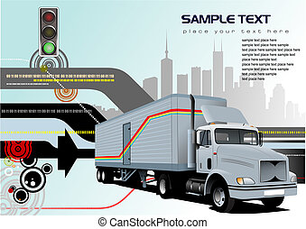 Abstract hi-tech background with truck image Vector