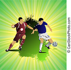 Grunge Soccer banner. Colored Vector illustration for...