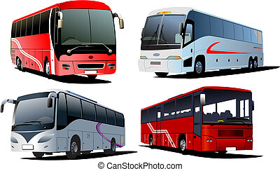 Four city buses. Coach. Vector illustration