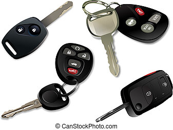 Four Car keys with remote control isolated over white...