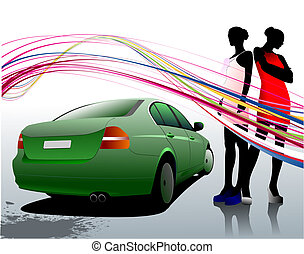 Car sedan and two girls composition. Vector illustration