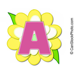 Alphabet Flower Pin Yellow A