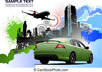 Grunge colored silhouette cityscape with car image. Vector illustration