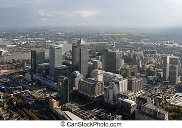 london docklands skyline view from above - a view of london...