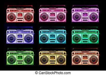 vintage ghettoblaster stereo - pattern made of cool retro...