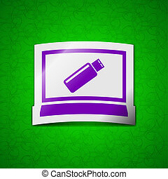 usb flash drive and monitor icon sign Symbol chic colored...