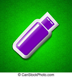 USB flash drive icon sign Symbol chic colored sticky label...
