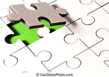 Falling Jigsaw Piece - Falling White Jigsaw Piece with green...