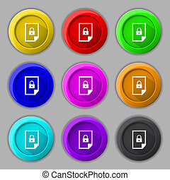 file locked icon sign Set of coloured buttons - File locked...