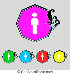 Human sign icon Man Person symbol Male toilet Set colour...