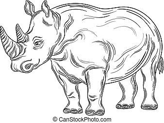 """Rhinoceros - Hand drawn illustration """"Rhinoceros"""" was..."""