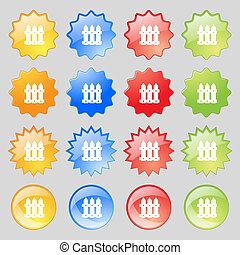 Fence icon sign Big set of 16 colorful modern buttons for...