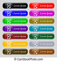 file unlocked icon sign Set of coloured buttons - File...
