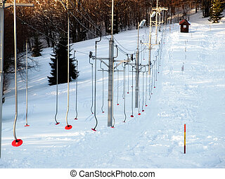 Ski lift - Sight on ski lift on a small ski resort