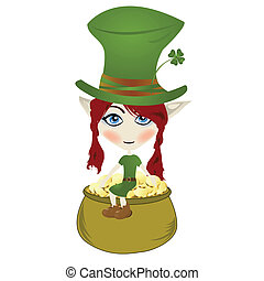 Leprechaun - Happy little Leprechaun enjoying pot of gold