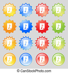 Audio, MP3 file icon sign. Big set of 16 colorful modern...