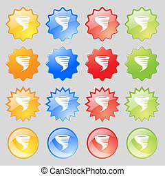 Tornado icon Big set of 16 colorful modern buttons for your...