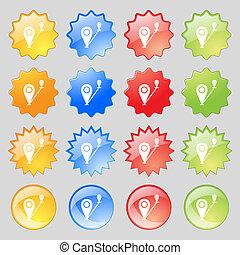 mapa, indicador, icono, signo., grande, Conjunto, de, 16,...