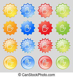 Hand print, Stop icon sign. Big set of 16 colorful modern...
