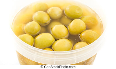 Rotating bowl of olives - Closeup view of rotating bowl of...