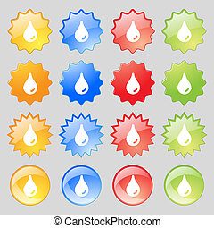 Water drop icon sign. Set from sixteen multi-colored glass buttons with place for text.