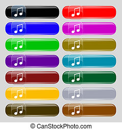 musical note, music, ringtone icon sign. Big set of 16...