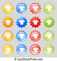 t-shirt icon sign Big set of 16 colorful modern buttons for...