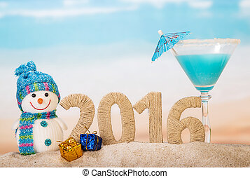 New year 2016 and Cocktail on beach - New year 2016 and...