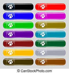 trace dogs icon sign. Set from fourteen multi-colored glass buttons with place for text.