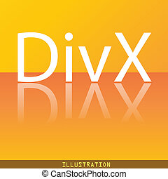 DivX video format icon symbol Flat modern web design with reflection and space for your text. . Raster