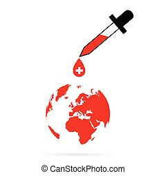 planet earth with red cross vector in colorful