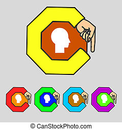 User sign icon Person symbol Set colourful buttons Modern UI...