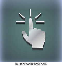 Click here hand icon symbol. 3D style. Trendy, modern design with space for your text . Raster