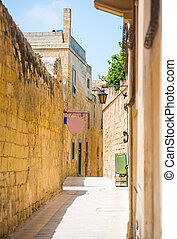traditional street in Mdina - traditional narrow silent...