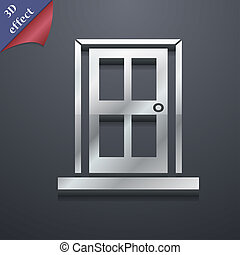 Door icon symbol 3D style Trendy, modern design with space...