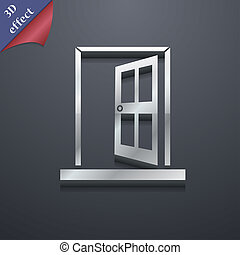 Door, Enter or exit icon symbol 3D style Trendy, modern...