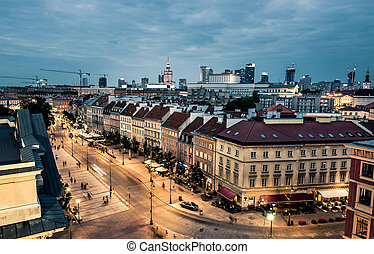 night view of Warsaw center from the town hall, Poland