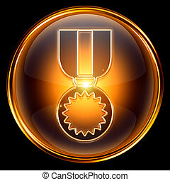 medal icon golden, isolated on black background.