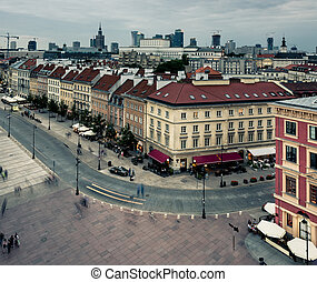 evening view of Warsaw center from the town hall, Poland
