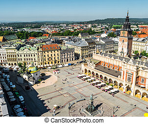 view on central square of Krakow - aerial view on the...