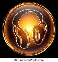 Headphones icon golden, isolated on black background.