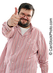 thumb up - big man showing OK sign over white