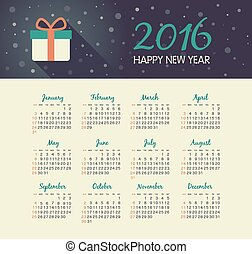 Calendar 2016 year with christmas gift