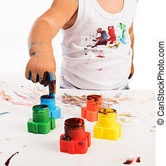 childs hand and colors - painted childs hand and colors...