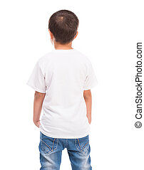 back of a little boy in white shirt isolated on white...
