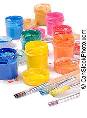 gouache - color gouache and brushes closeup