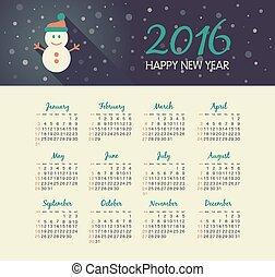 Calendar 2016 year with christmas snowman