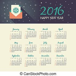 Calendar 2016 year with christmas letter
